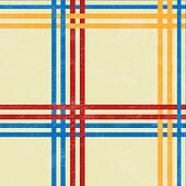 Tablecloth, red and blue, yellow lines - vector illustration. Retro tablecloth texture