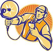 Engineer Technician With Ultrasound Sonar Dish