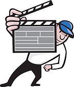 Director With Movie Clapboard Cartoon