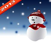 New Year 2013 with christmas design background