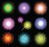 Set of festive colored fireworks on