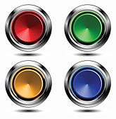 Set of colored buttons with chrome