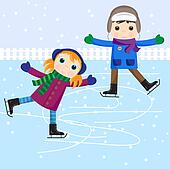 Ice skating little girl and boy