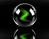 bright green abstract waves in the glass sphere on the black bac