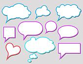 Colorful speech bubbles and dialog