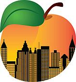 Atlanta Georgia Night Skyline Inside Peach Illustration