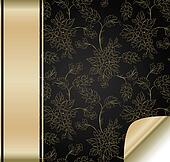 The black flower background with golden band