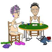 Senior couple Playing Strip Poker.