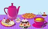 tea with lemon and fruit cake, cake of the bun