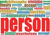 Person. Business word collage background