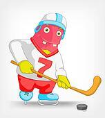 Funny Monster. Hockey.
