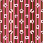Retro Flowers Pink & Brown Stripes
