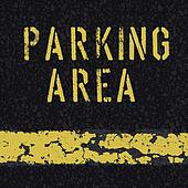 Parking area sign on asphalt background. Vector, EPS10