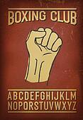 Sport club retro font. Vector alphabet and design elements colle