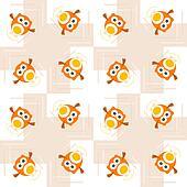 Seamless orange owl illustration pattern for kids