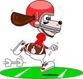 Cartoon dog American footballer