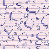The speech bubbles seamless on pink sheet of a notebook