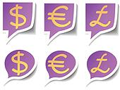Speech bubbles with symbol money