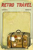 Retro Travel Postcard - Old Suitcase