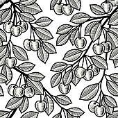 Seamless cherry background b&w