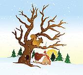 Village winter landscape. Vector illustration
