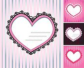 set of 4 hearts shape lace doily