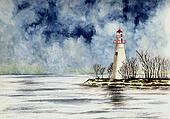 Marblehead Lighthouse, Winter Scene