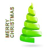 Christmas tree with colorful MERRY CHRISTMAS text