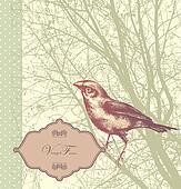 Background with vintage bird sittin