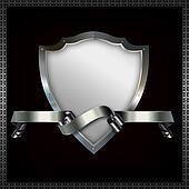 Shield and ribbon.