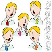 Businessman Public Speaker Microphone Set