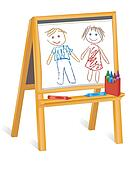 Childs Crayon Drawings, Wood Easel