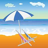 umbrella with chair on the beach illustration