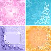 Set abstract floral backgrounds