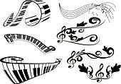 key notes and piano keyboard