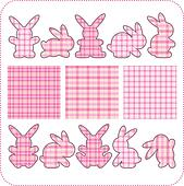 Ten pink rabbits. Beautiful element