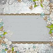Romantic  vintage  white background with flowers and text (1 of