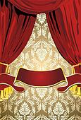 Teatrical Red  Curtains, Gold Background And Scroll Banner