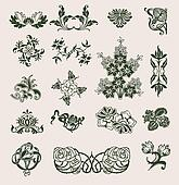 Set Of Vector Ornament In Flower Style
