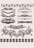 vector set: calligraphic design ele