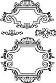 Vector Antique Vintage Frames And Elements. Isolated On White Fo