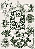 Flower Vintage Royal Design Elements And Doves.