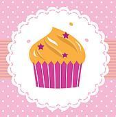 Cute sweet party cupcake card
