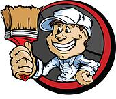 Happy Painter Contractor with Paint Brush Cartoon Vector Image