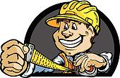 Happy Construction Contractor with Tape Measure Cartoon Vector I