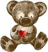 Teddy Bear with heart, hand-drawing
