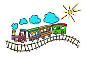 illustration of a child's drawing representing a train on rails in the sun