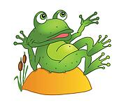cartoon frog lying on a rock