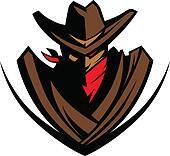 Cowboy Mascot with Hat and Bandanna