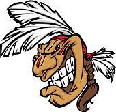 Grinning Indian Brave Mascot Head Vector Cartoon